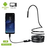 USB Endoscope, Amicool 2 in 1 Borescope Inspection Camera 2.0 Megapixels CMOS HD Waterproof Snake Camera with USB Adpater and 6 Adjustable LED Light for Android/Windows – 3.5 Meters (11.5 ft.)