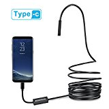 Depstech USB-C & Micro USB Endoscope, Semi-rigid USB Type-C Borescope Inspection Camera 2.0MP CMOS HD Waterproof Snake Camera with 8 Adjustable Leds for Android, Windows & Macbook Device - 16.4ft(5M)